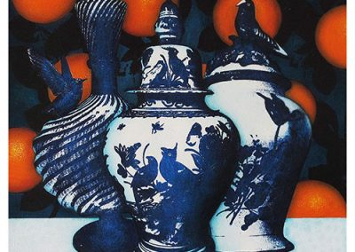13 Woodroffe_2017_Inside the Orangery_Bird Pots with Blood Oranges_acrylic and ground pigment on paper_50cm_x_50cm copy