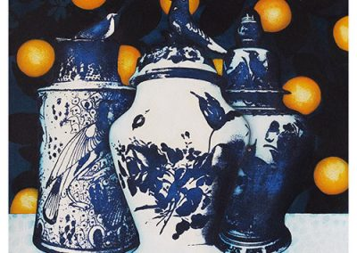 14 Woodroffe_2017_Inside the Orangery_Bird Pots with Sour Oranges_acrylic and ground pigment on paper_50cm_x_50cm copy