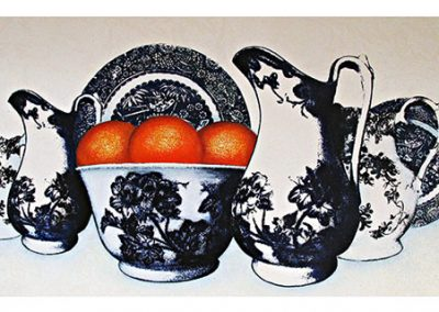 a private collection_blue crockery with oranges_lot 4