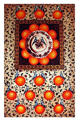 framed still life on 19th century wallpaper_with oranges and budgerigars